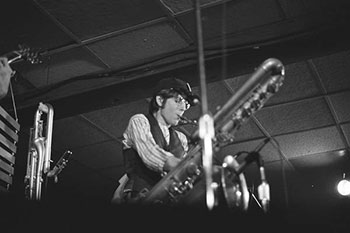 Ralph Carney of Tin Huey on stage at JB's in 1978.
