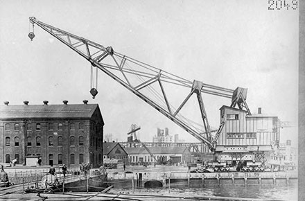 A dry dock crane sits near a navy yard in New York.