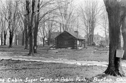 Log Cabin Sugar Camp in Public Park. Burton, Ohio, 1937