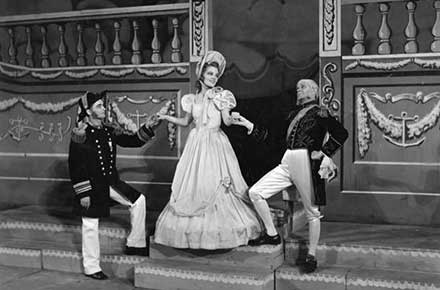 Ted Korosy, Elizabeth Langley, and Paul Randall in H.M.S. Pinafore, 1942.