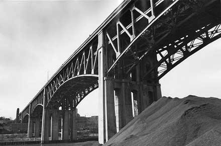 Ground-level view of Lorain Carnegie Bridge trusses, west end, 1980