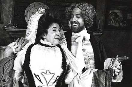 Charlotte Hare and Brian Rabinowitz in She Stoops To Conquer, 1982.