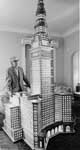 Adam Karpinski stands near his replica of the Terminal Tower, 1975.