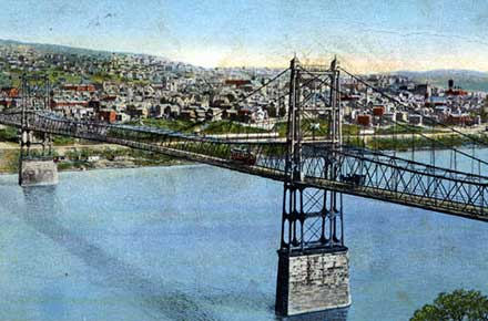 Bird's-eye view of East Liverpool, Ohio, showing Newell, Bridge