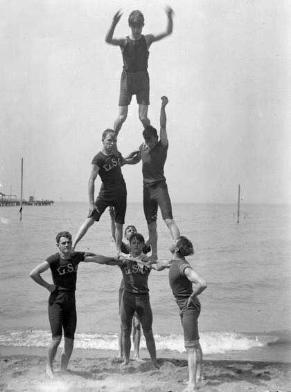 Human pyramid on Euclid Beach