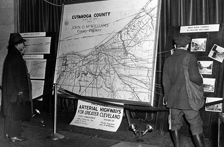 Proposed arterial highways for Greater Cleveland exhibit, 1940