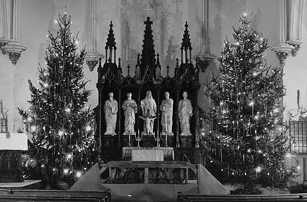 Christmas trees in the Chancel of Zion Lutheran Church, 1942