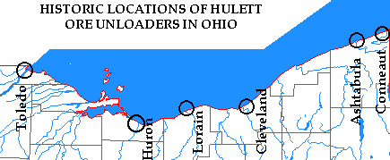 Map of Hulett locations in Ohio