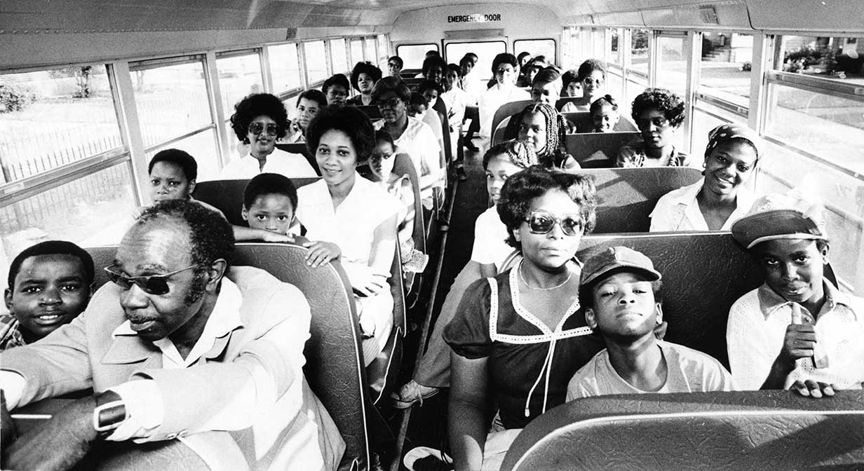 Cleveland school children on bus, 1979.