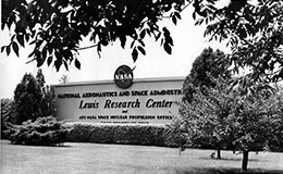Lewis Research Center's sign at the entrance on Brookpark Rd, 1962