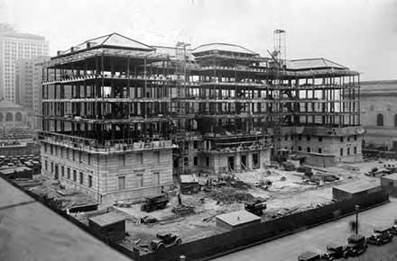 Construction of the Board of Education Building, 1930.
