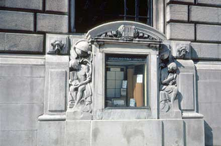 Display case on the facade of the Cleveland Public Library, 1980.