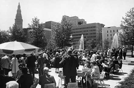 Crowds gathered on the Mall in downtown Cleveland, 1968.