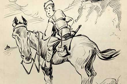 Roy Grove WWI cartoon of a soldier on a horse in France.