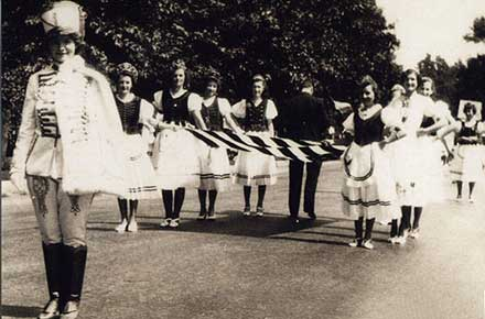 Women of the First Hungarian Reformed Church march to the the Hungarian Cultural Garden Dedication Ceremony, 1938