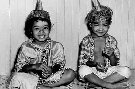 Two children in costumes at Karamu House, 1955