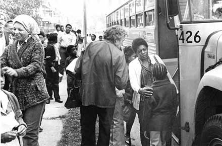 School children on the first day of busing, 1979.