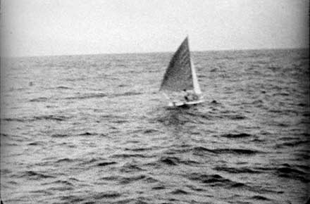 Robert Manry in sailboat Tinkerbelle, 1965