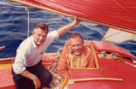 Bill Jorgensen with Robert Manry aboard Tinkerbelle, 1965