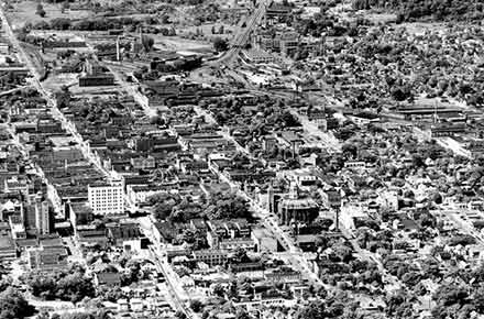 Aerial View of Downtown Mansfield, 1950