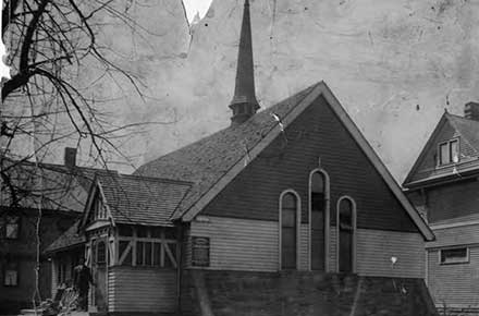The original Cleveland Play House building, a Cedar Ave. church, 1916.