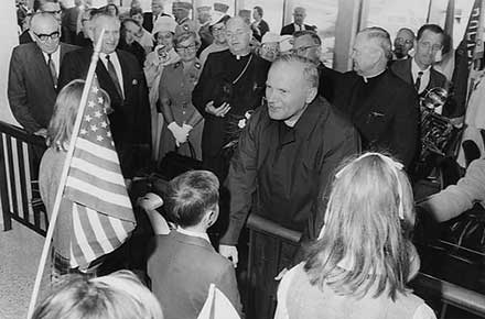 Cardinal Karol Wojtyla (Pope John Paul II) at airport, Cleveland visit, September 17, 1969