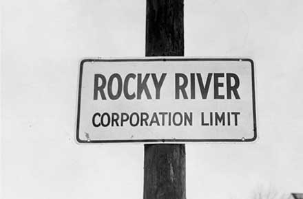 Rocky River corporation limit sign, 1957.