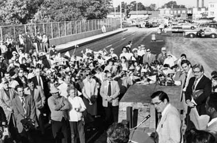 Opening of the Rocky River Bridge with Mayor Earl Martin, 1980.