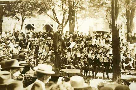 E.B. Ackley directing a concert at Sandusky, Ohio.