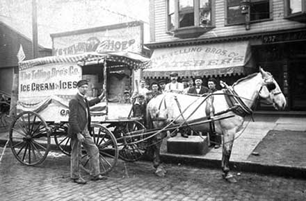 Telling Brother's Company ice cream wagon, ca. 1900