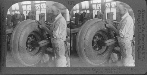 Building Up an Automobile Tire in Rubber Plant, Akron, Ohio