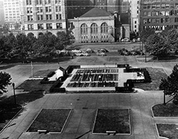 Panoramic view of the downtown Cleveland, Ohio Mall victory garden, 1944