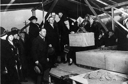Laying of original cornerstone, Rocky River Public Library, 1928.